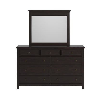 9-drawer Wood Modular Storage Dresser - Black Color Finish Dresser with Mirror