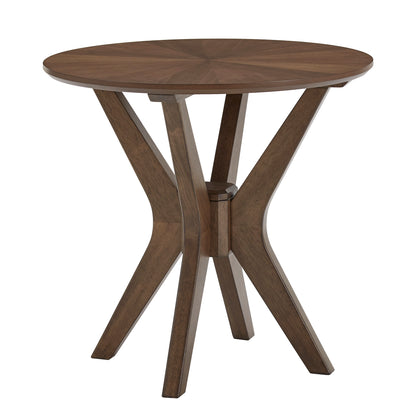Mid-Century Walnut Finish Round End Table