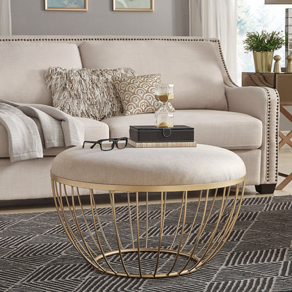 Fabric Upholstered Cocktail Ottoman - Beige Linen