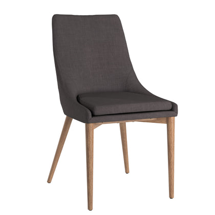 Oak Barrel Back Linen Upholstered Dining Chairs (Set of 2) - Dark Grey Linen