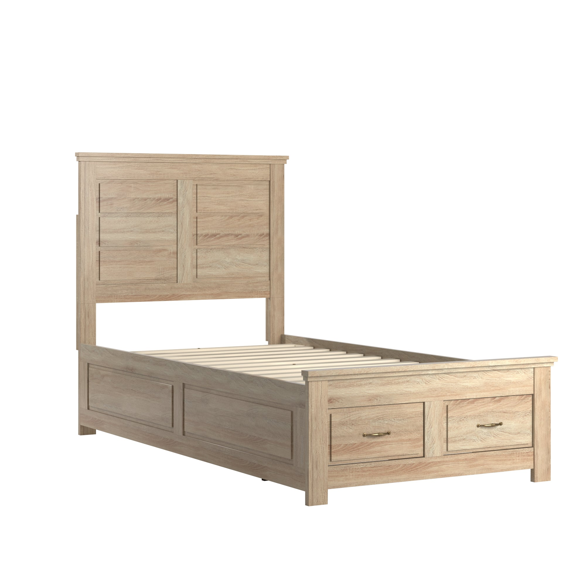 Wood Panel Platform Bed with Storage - Twin Size - Oak Finish