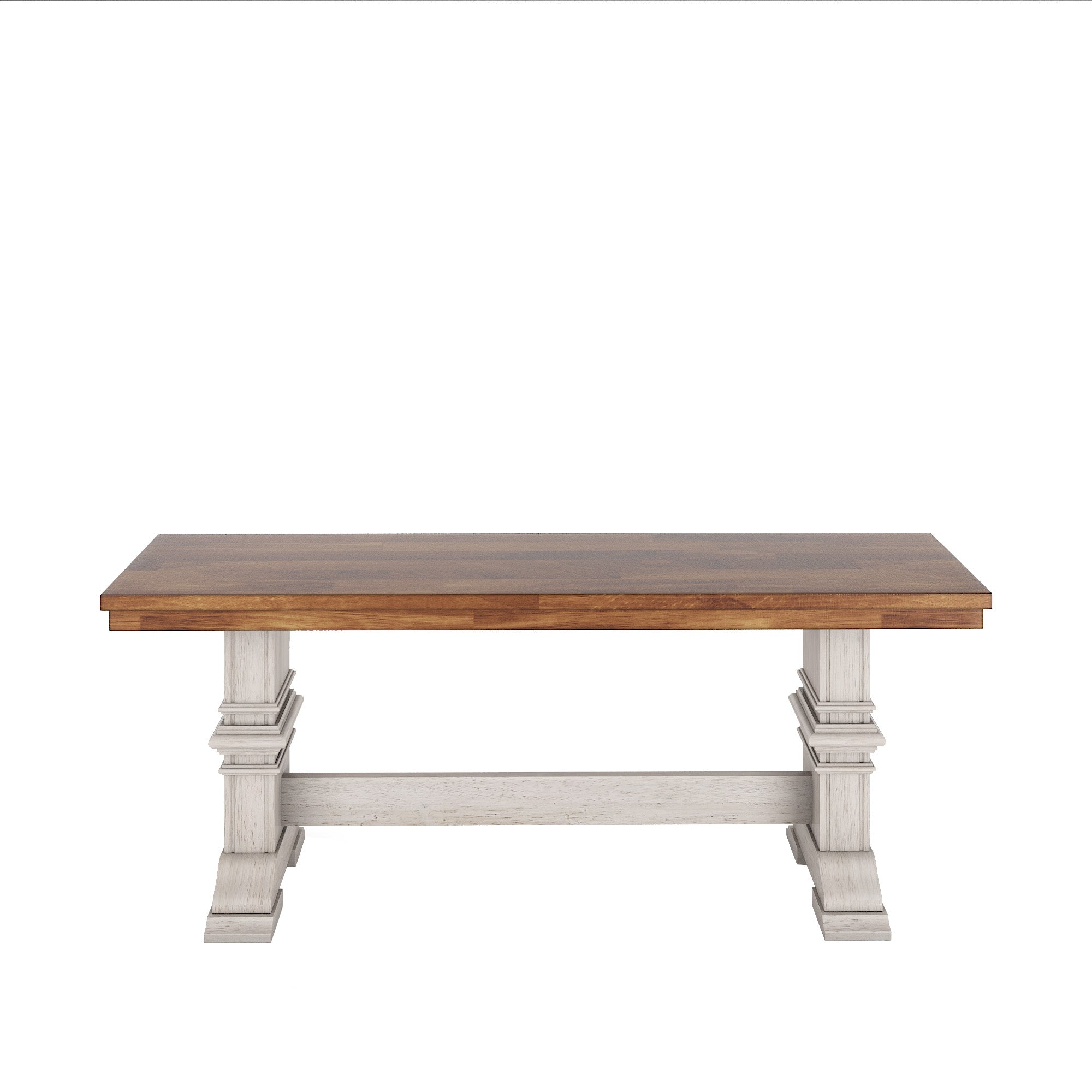 Two-Tone Trestle Leg Wood Dining Bench - Oak Top with Antique White Base
