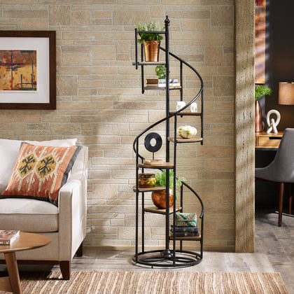 Black Finish Metal Spiral Staircase Display Shelf