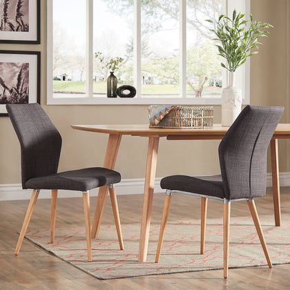 Contoured Upholstered Dining Chairs (Set of 2) - Dark Grey Linen, Light Oak Finish