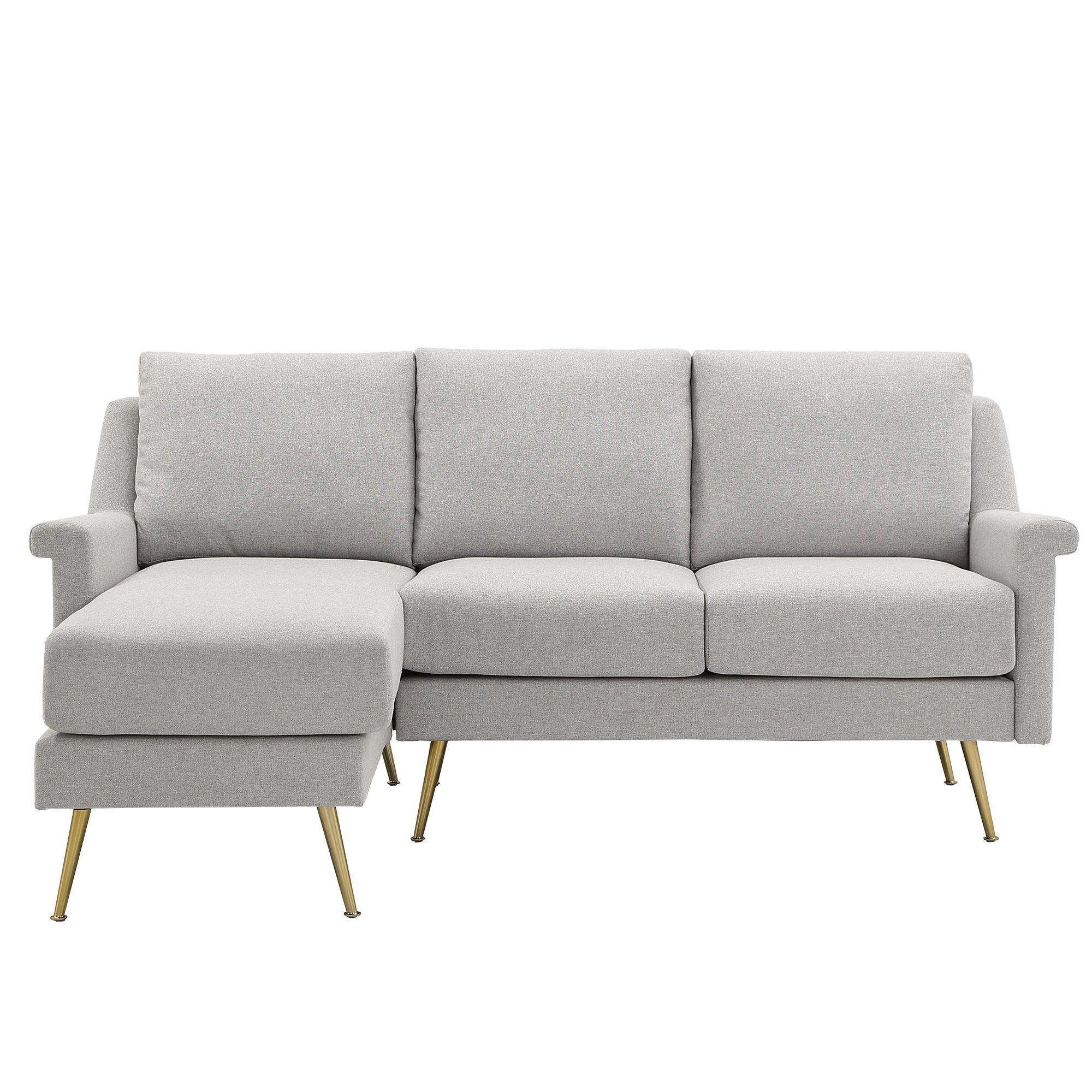 Grey Fabric Reversible Sectional Sofa with Gold Metal Legs - 3-Seat