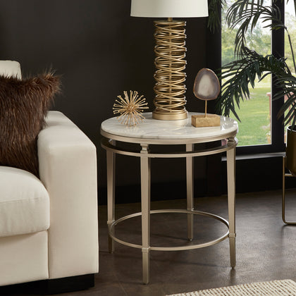 Champagne Silver Finish Round Marble Top End Table