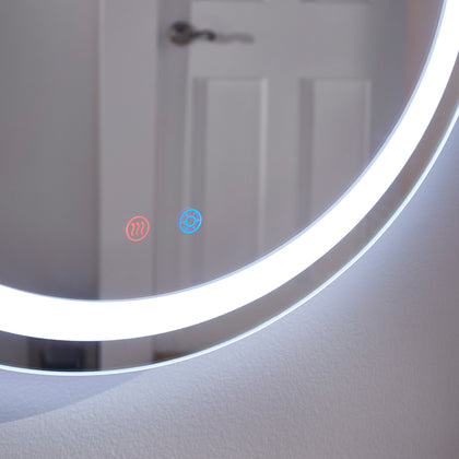 Touch LED Anti-Fog Round Vanity Wall Mirror