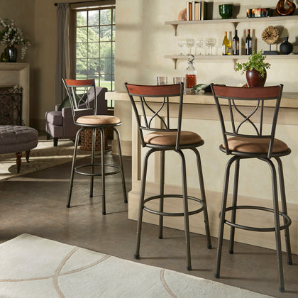 Bronze Finish Curve X-Back With Brown Finish Wood Trim 3pc Pack Stools