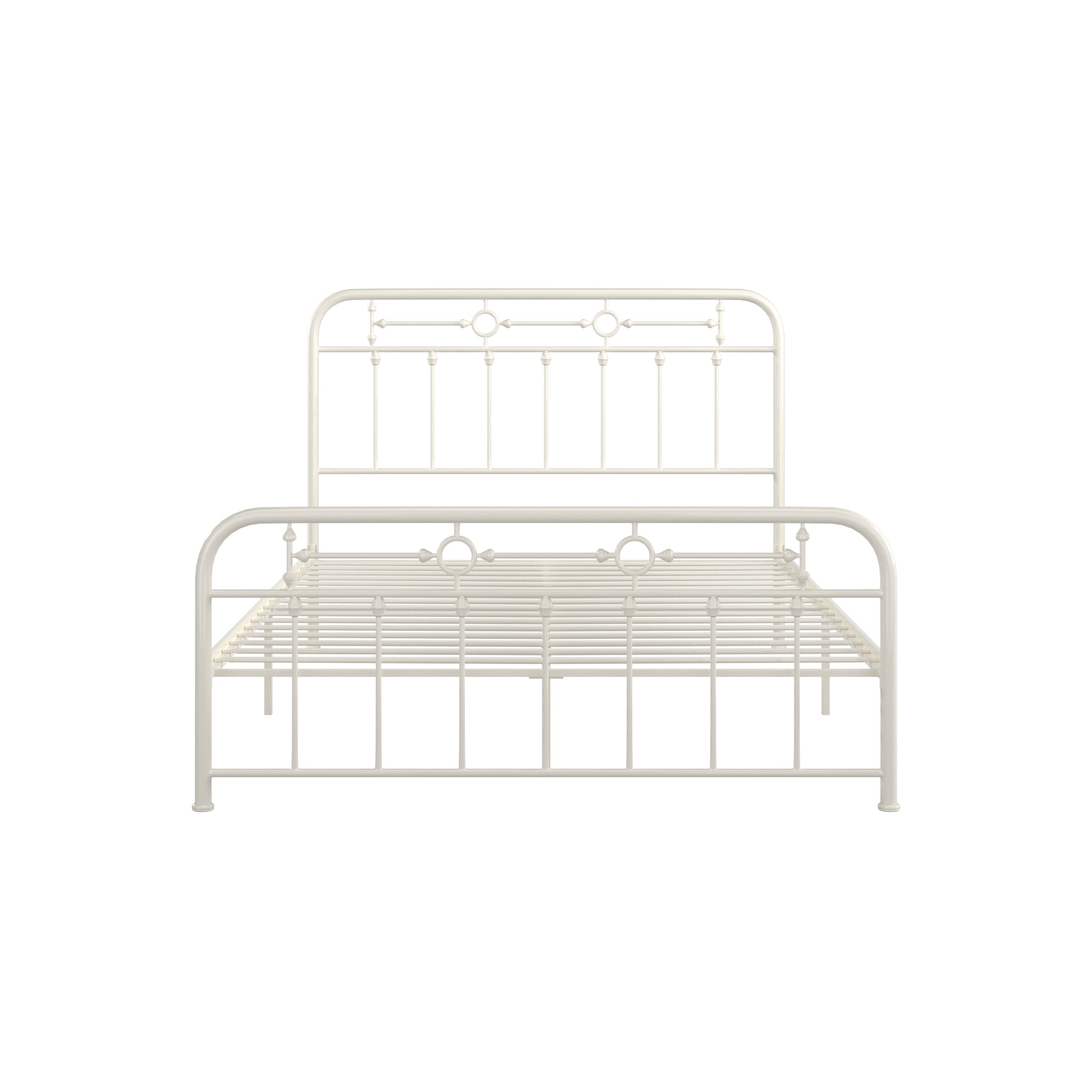 Metal Spindle Platform Bed - White, Queen Size (Queen Size)