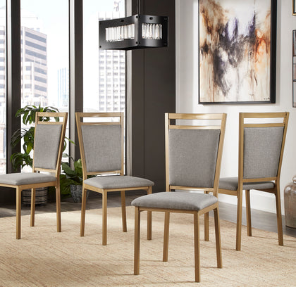 Metal Upholstered Gold and Grey Dining Chair (Set of 4)