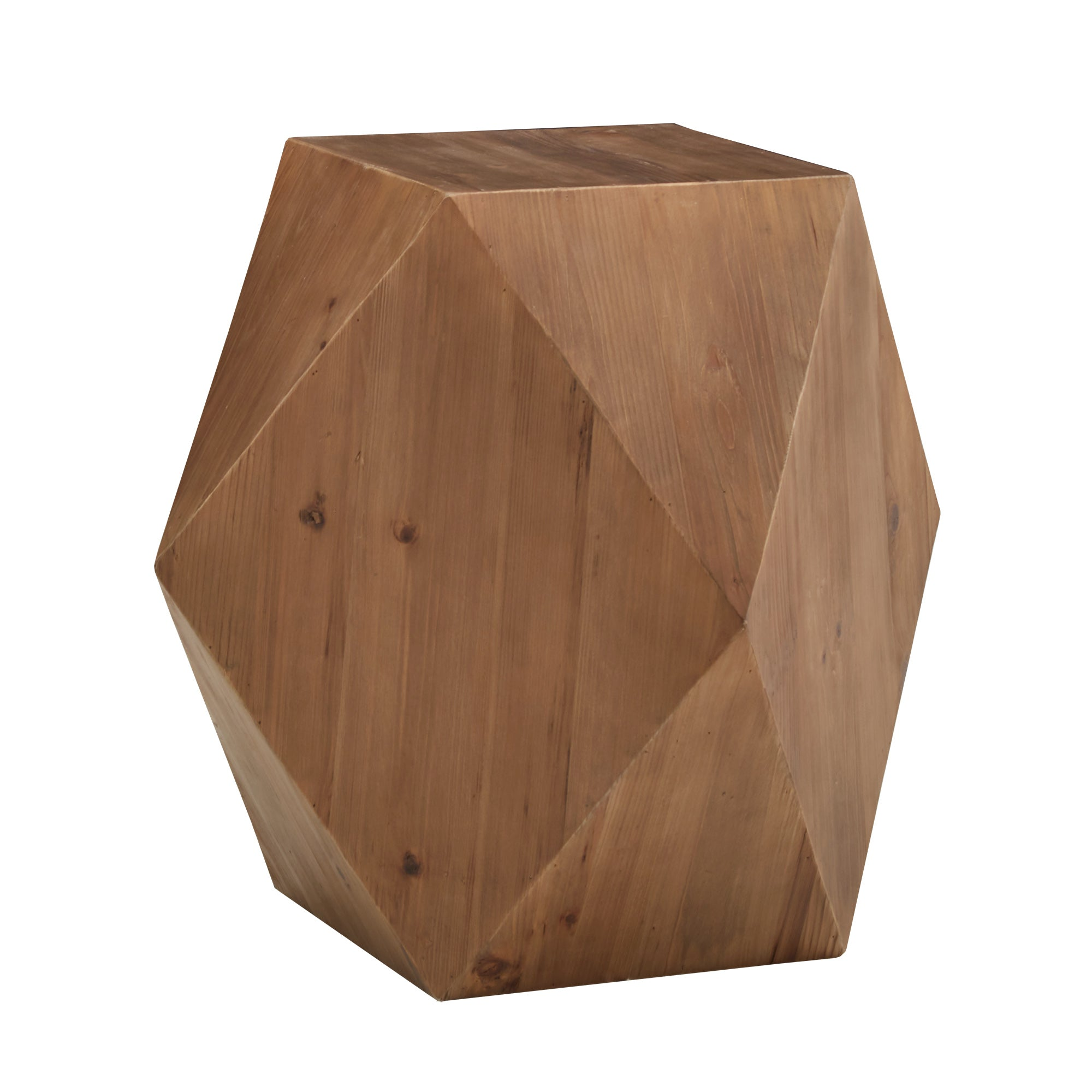 Reclaimed Wood Geometric End Table