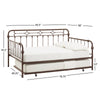 Antique Dark Bronze Metal Full Size Daybed with Trundle Bed