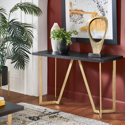 Black and Gold Metal Base Sofa Table