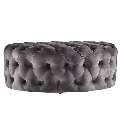 Round Tufted Cocktail Ottoman with Casters - Dark Grey Velvet