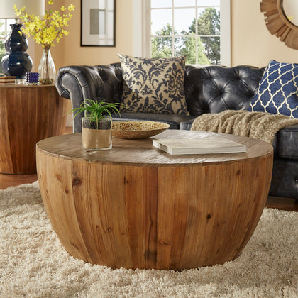 Reclaimed Woodblock Drum Shape Coffee Table