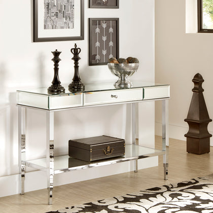 Mirror Finished 1-Drawer Sofa Table TV Stand - Chrome