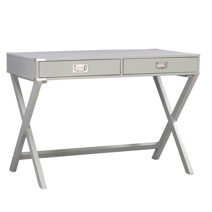 X-Base Wood Accent Campaign Writing Desk - Silver Birch