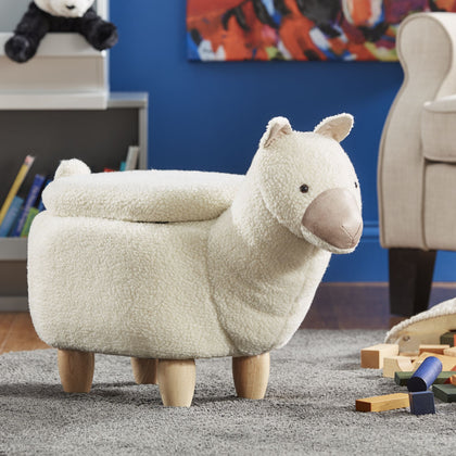 Animal Storage Ottoman - White Llama