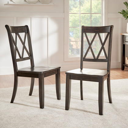 Double X Back Wood Dining Chair (Set of 2) - Antique Black