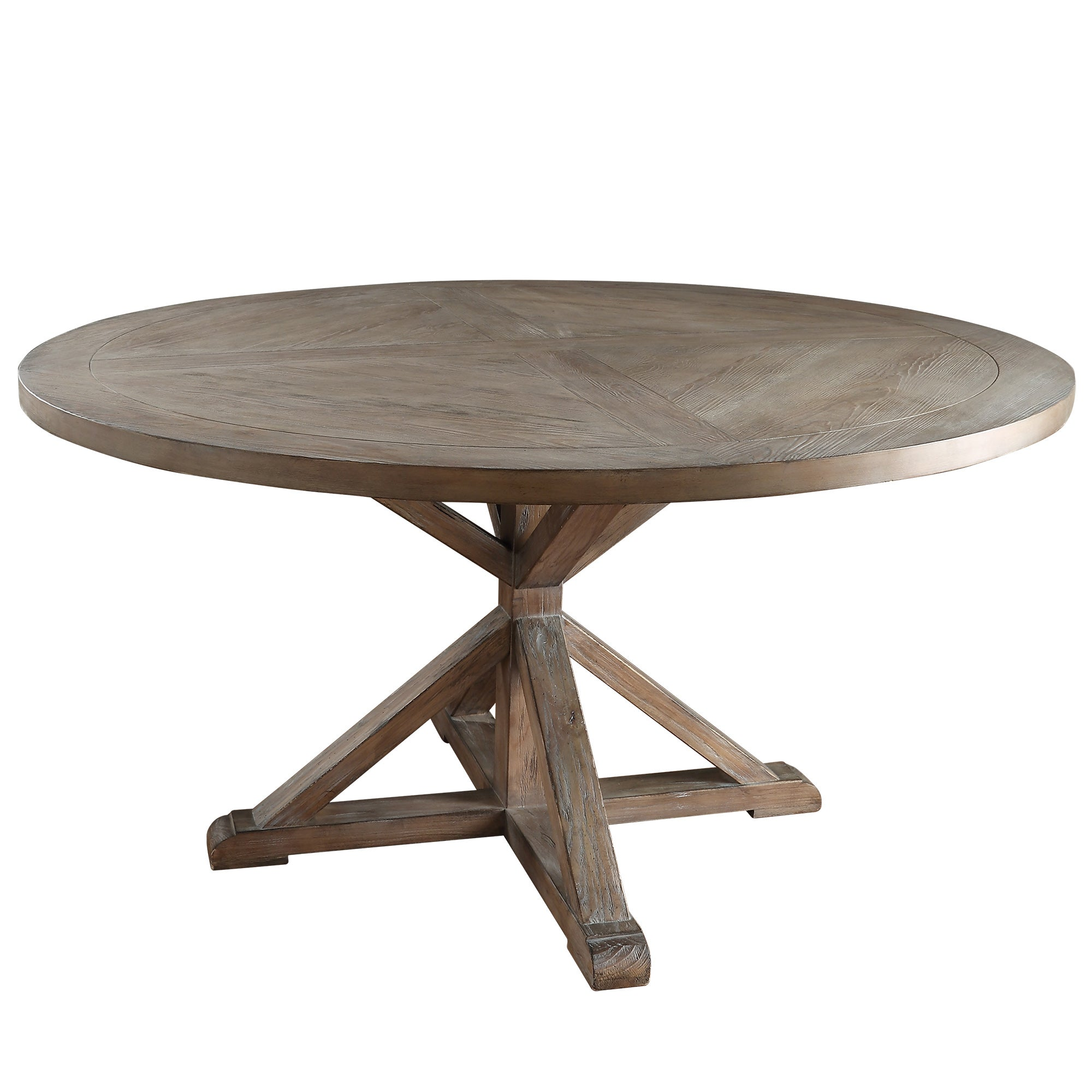 "Rustic X-Base Round Pine Wood Dining Table - 60"" - Pine Finish"