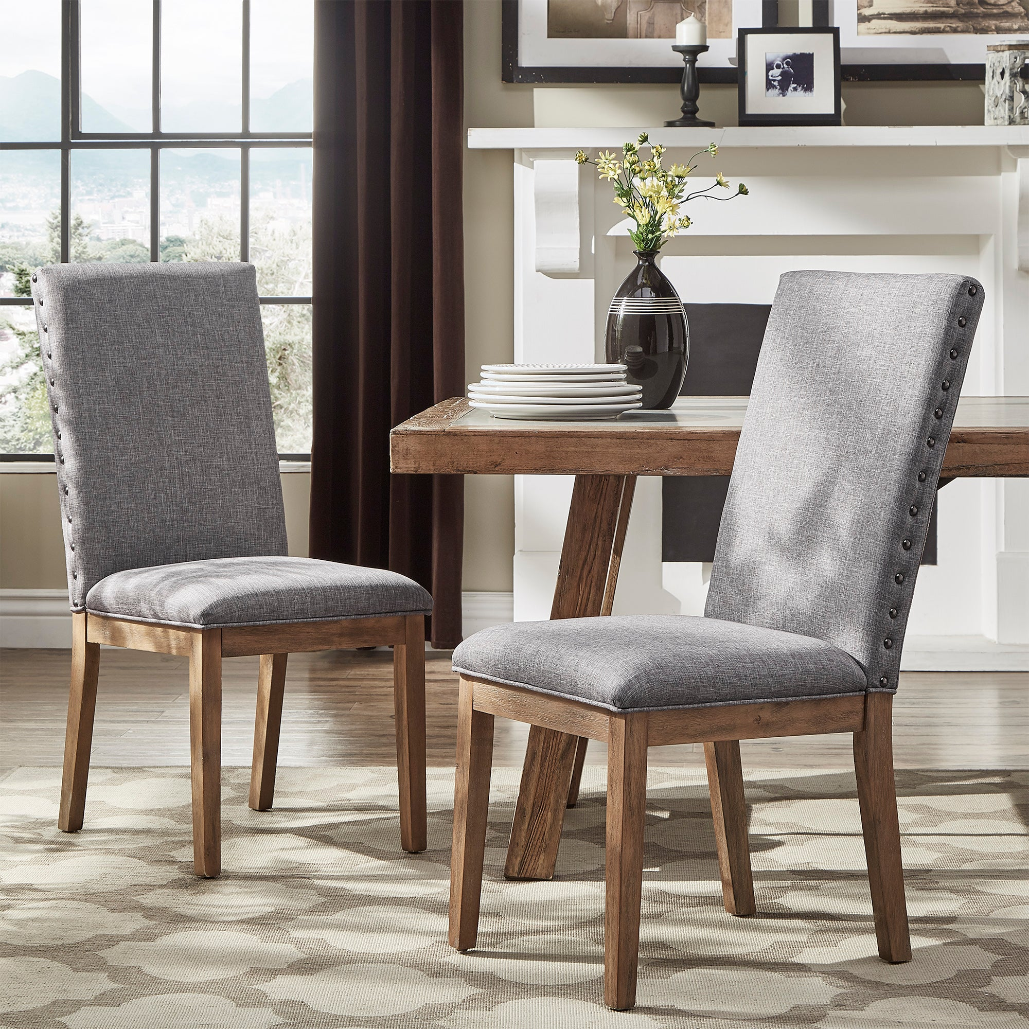Grey Nailhead Accent Parson Linen Dining Chair (Set of 2)