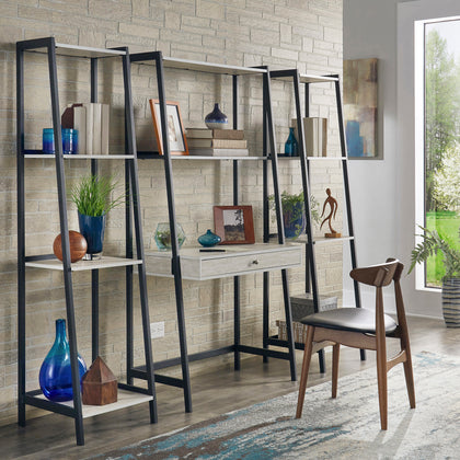 Marble 3-Piece Ladder Desk and Bookcase Set