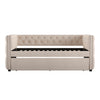 Tufted Nailhead Daybed with Trundle - Beige Linen
