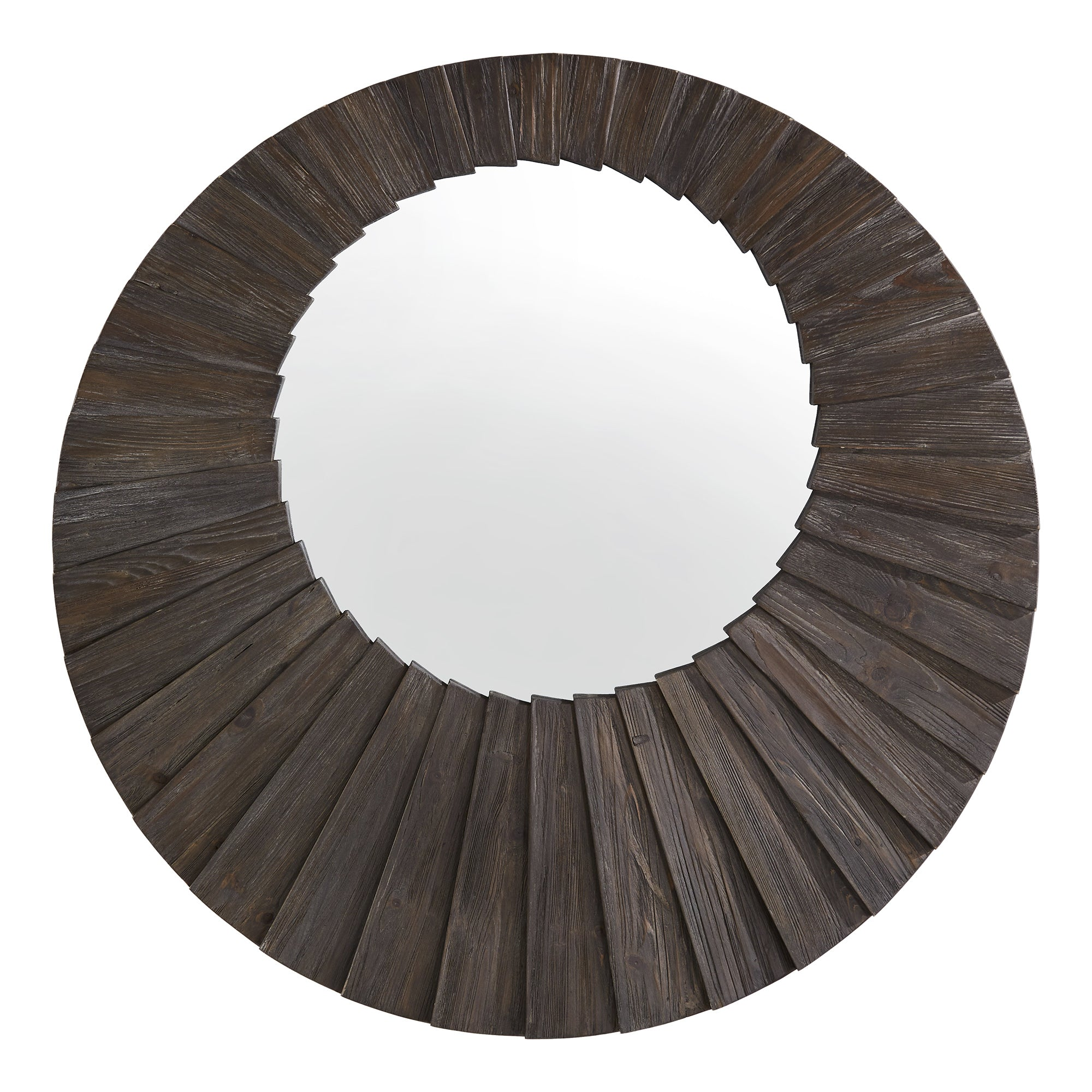 Dark Brown Reclaimed Wood Round Seashell Wall Mirror - Large