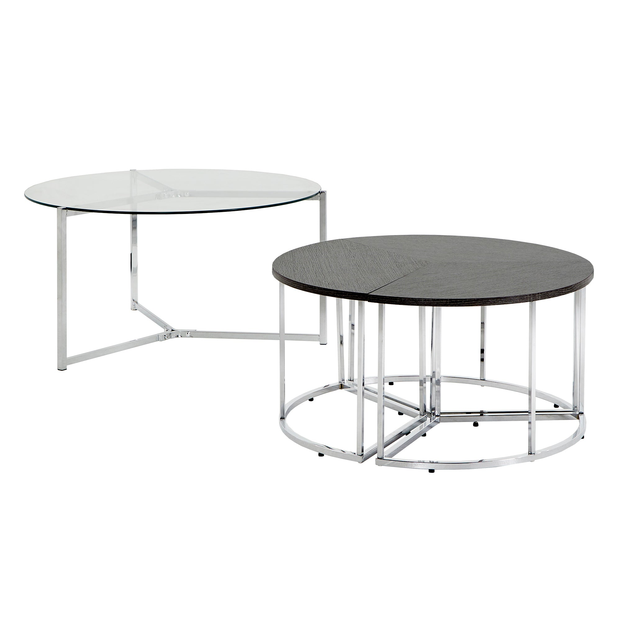 Chrome Finish Glass Top Coffee and End Table Set - Nesting Coffee Table