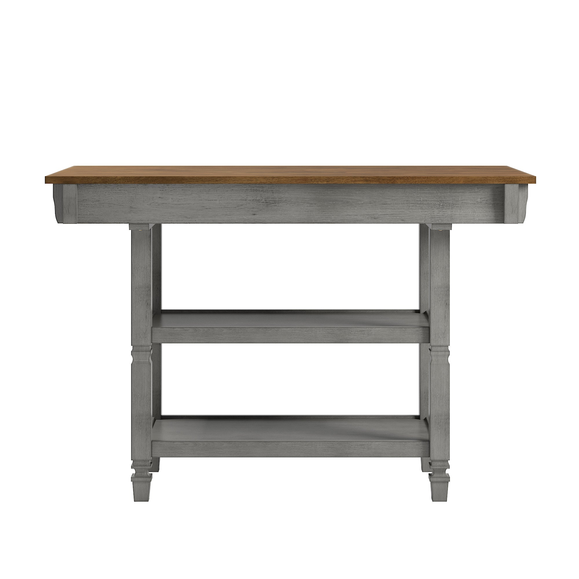 Two Tone Antique Kitchen Island Buffet Oak Top With Grey Base By Inspire Q Classic Home