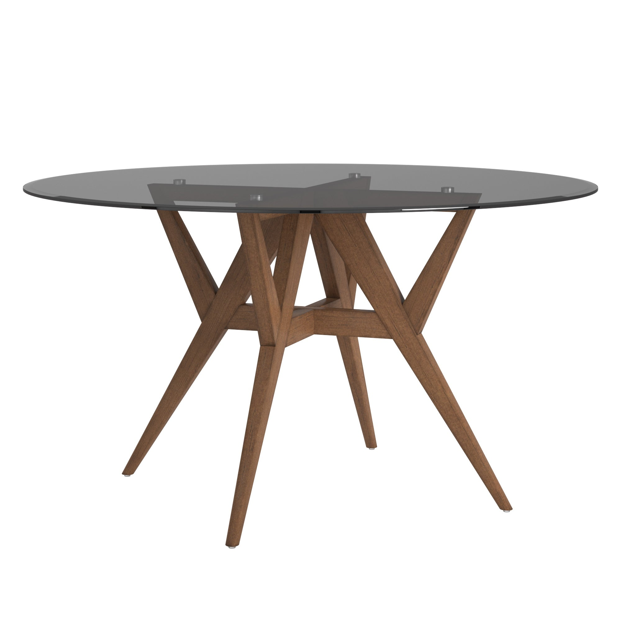 Round Walnut Dining Table - Smoked Glass Top
