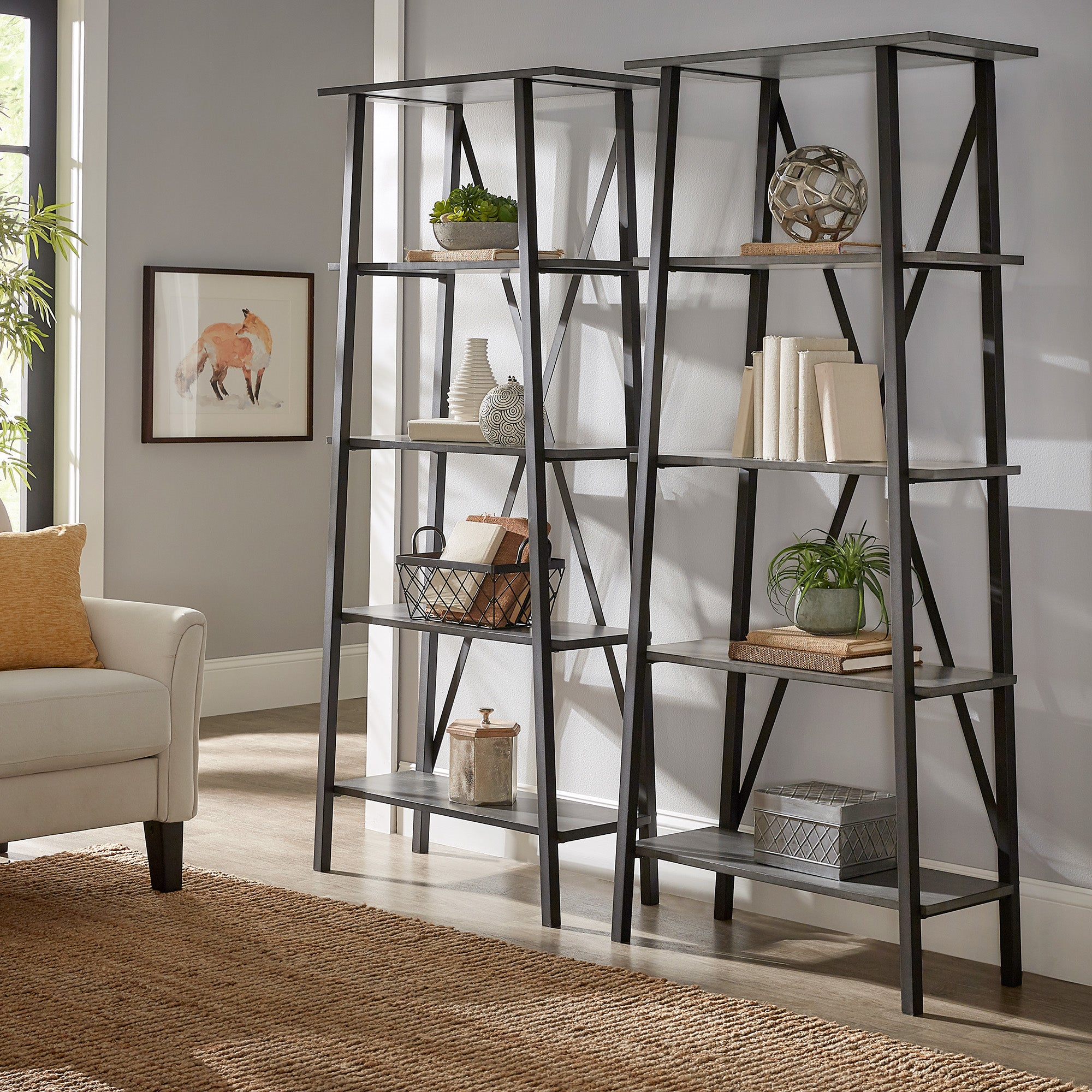 Rustic X-Base 32-inch Bookcase - Grey Finish