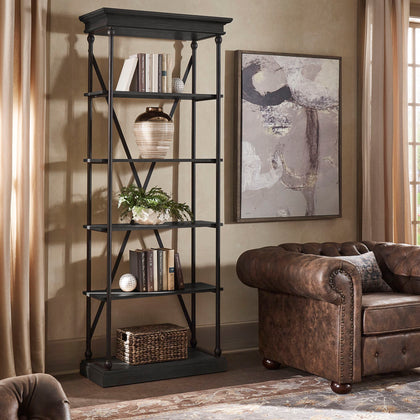 Black Cornice Wood and Iron Bookcase