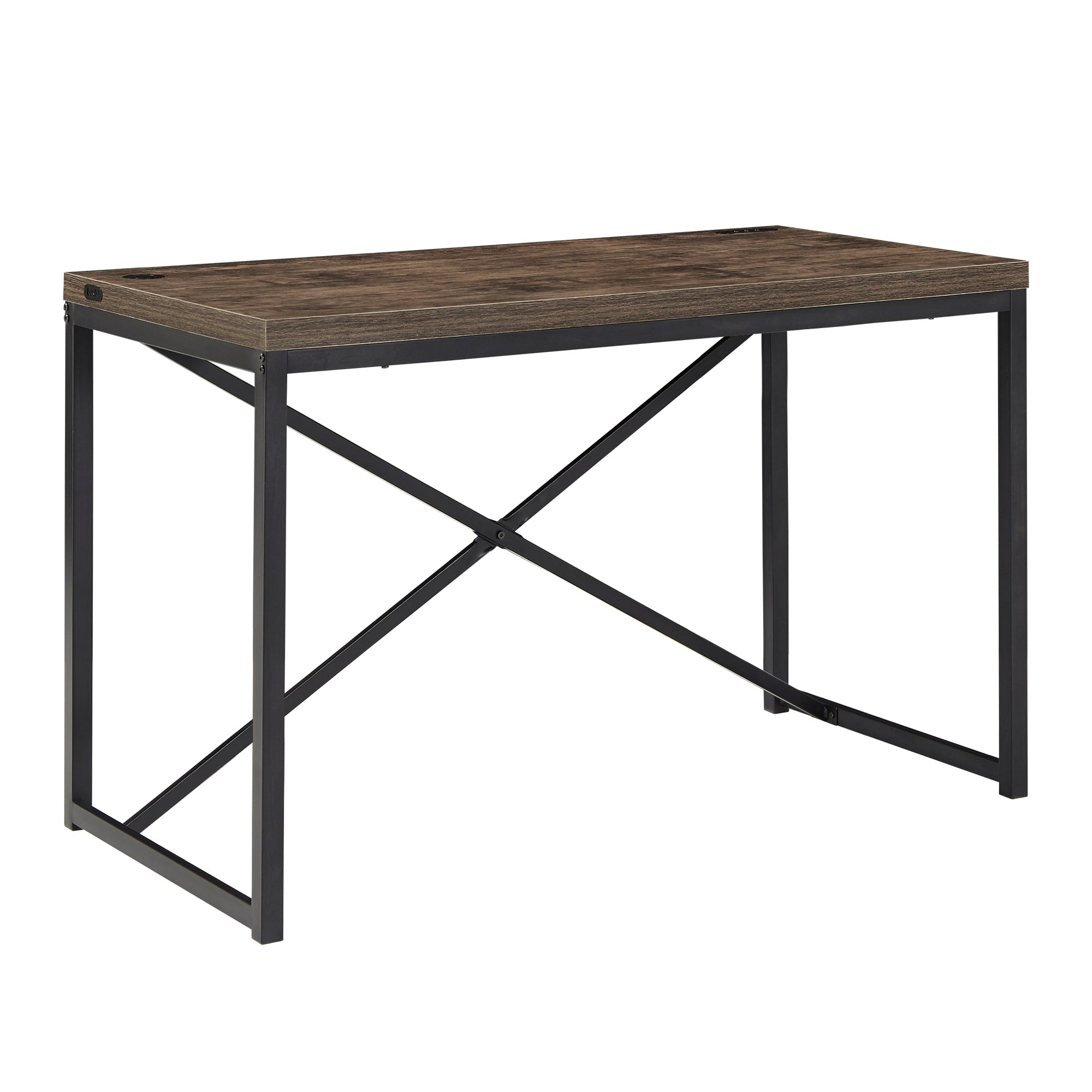 Black Metal Rustic Desk with USB Charging Station