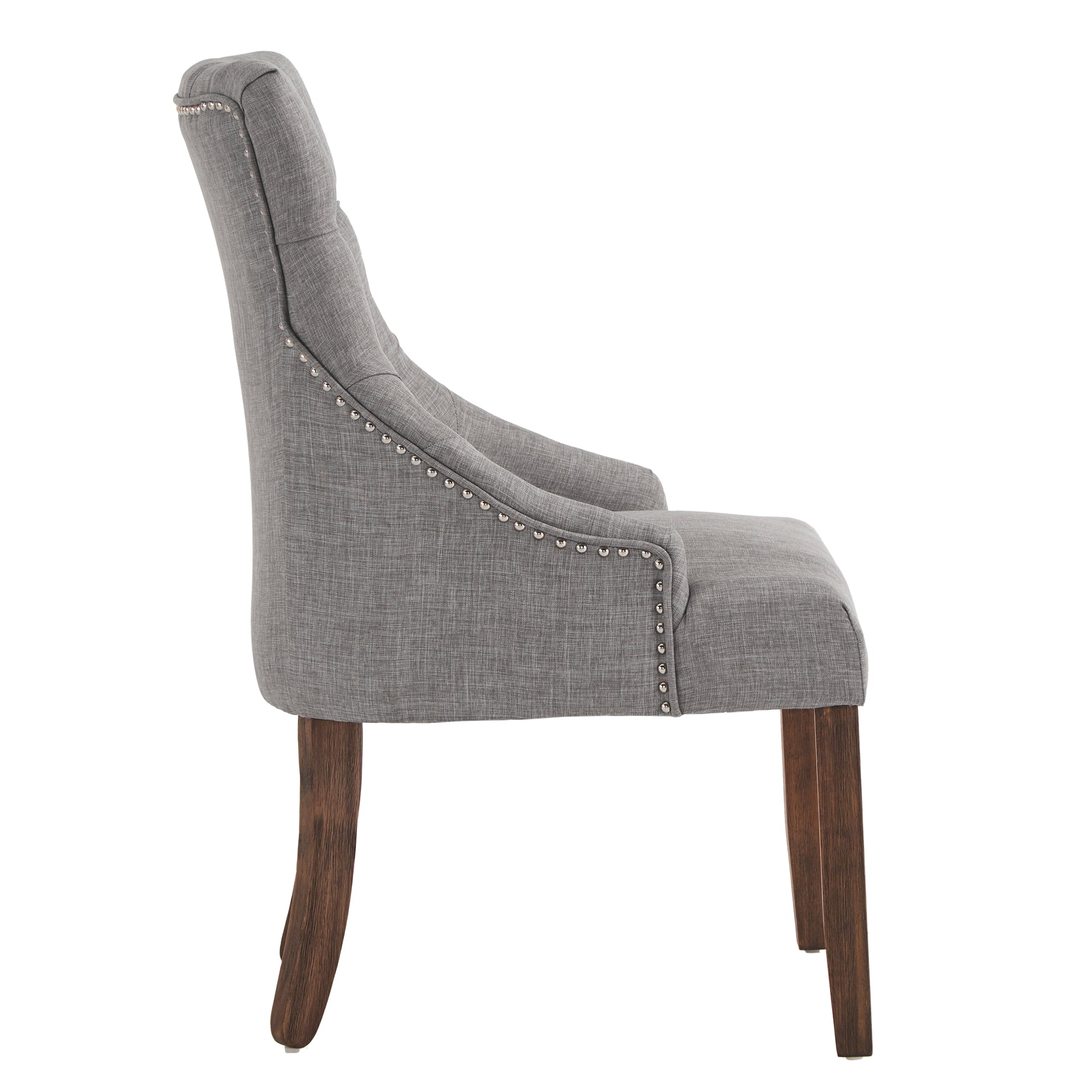 Linen Curved Back Tufted Dining Chair (Set of Two) - Grey Linen