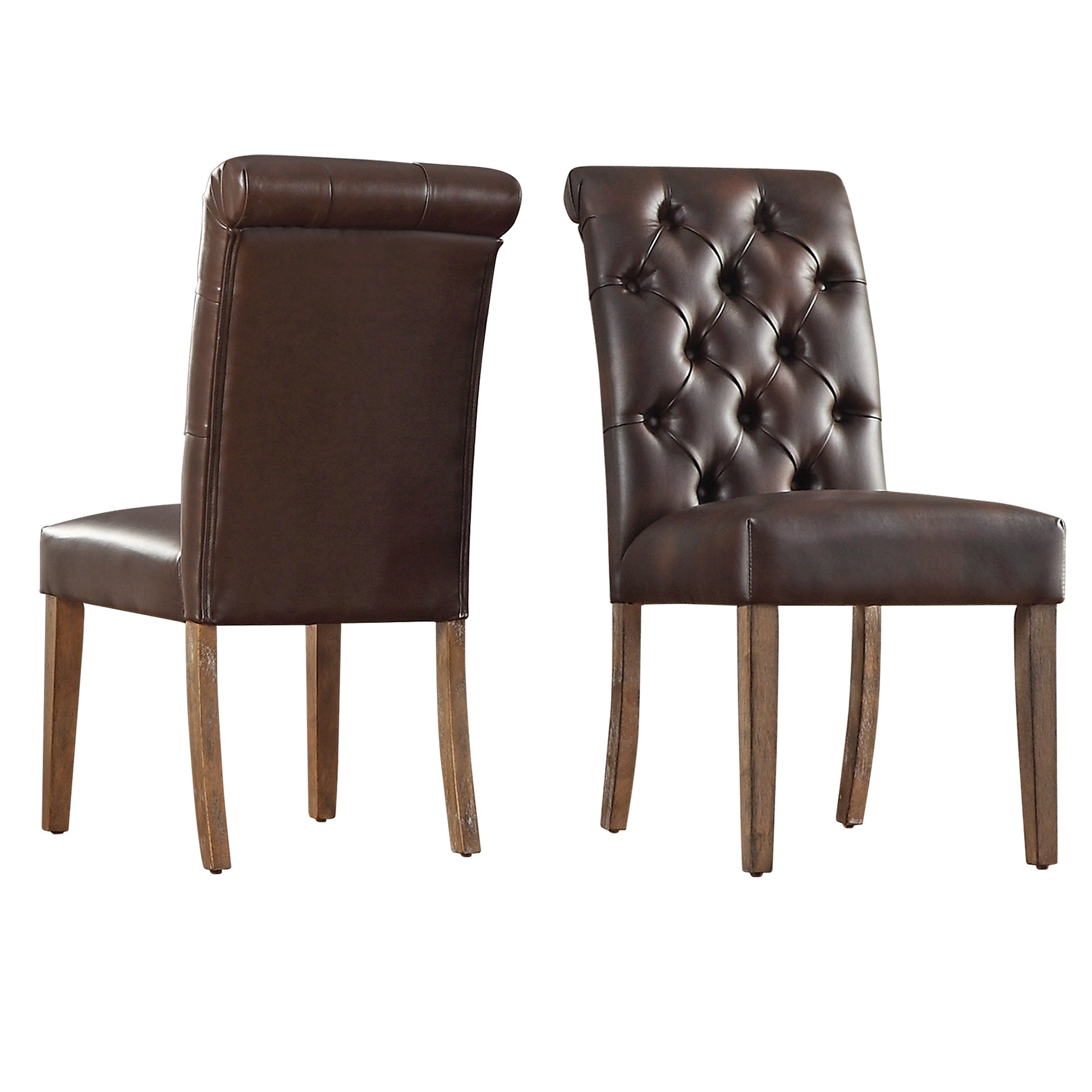 Premium Tufted Rolled Back Parsons Chairs (Set of 2) - Brown Bonded Leather