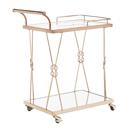 Champagne Gold Finish Reef Knot Frame and Glass Top and Mirror Bottom Bar Cart