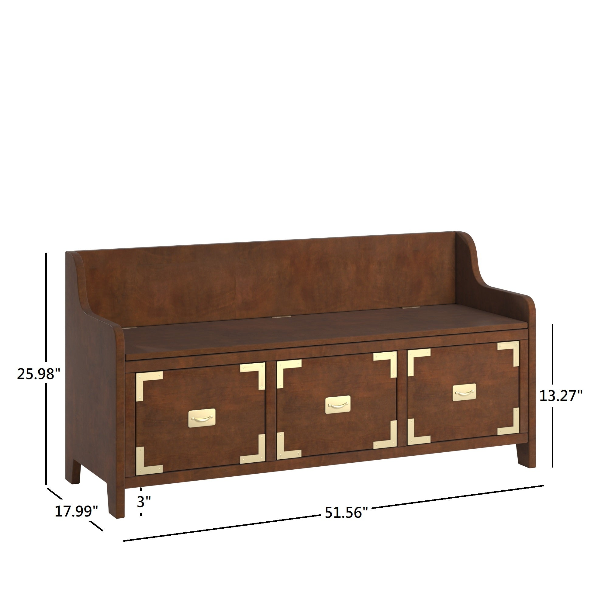 "52"" Lift Top Storage Bench - Black"