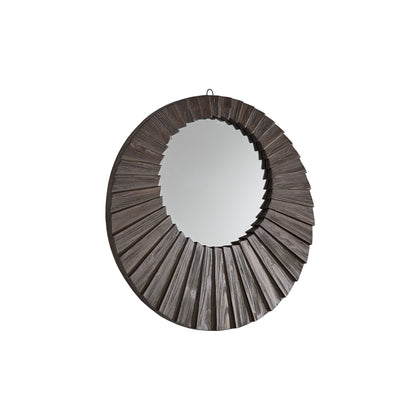 Dark Brown Reclaimed Wood Round Seashell Wall Mirror - Small