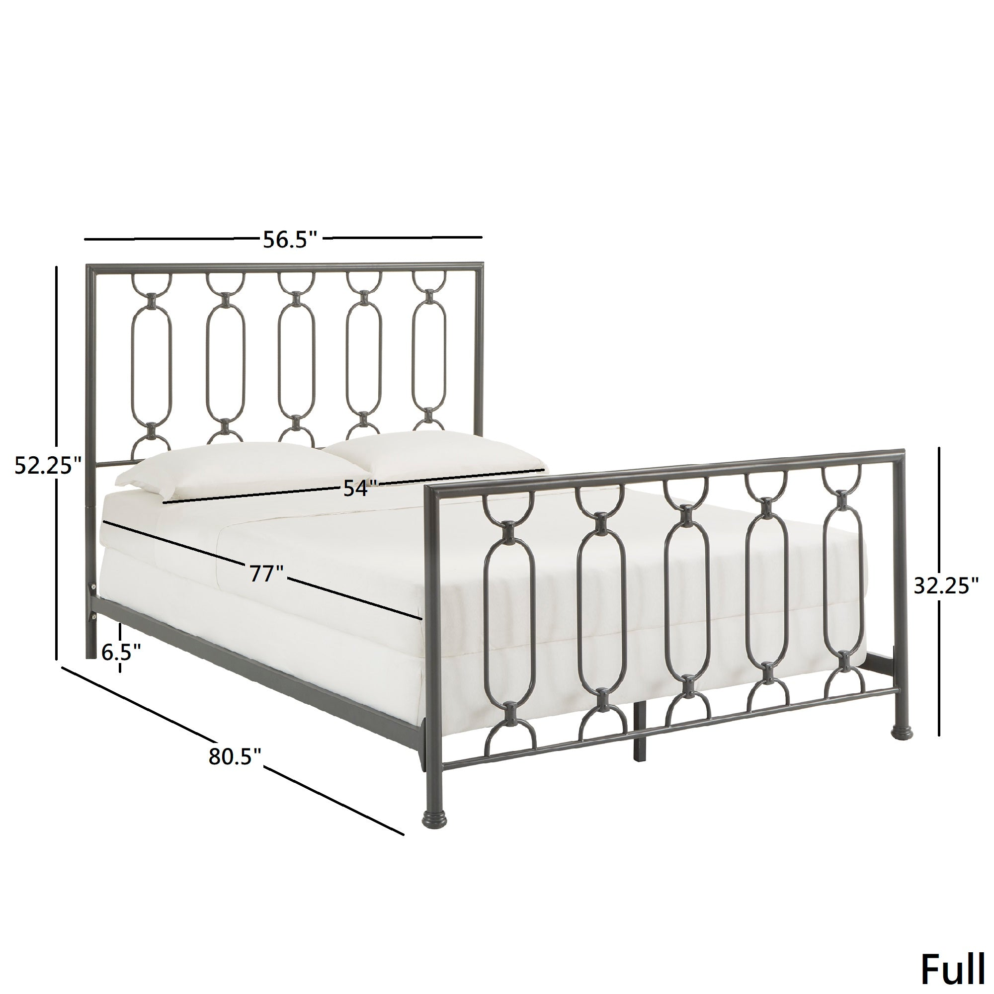 Metal Bed - Frost Grey, Full Size (Full Size)