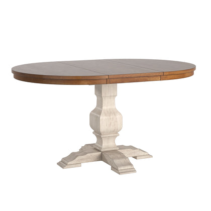 Two-Tone Oval Solid Wood Top Extending Dining Table - Oak Top with Antique White Base