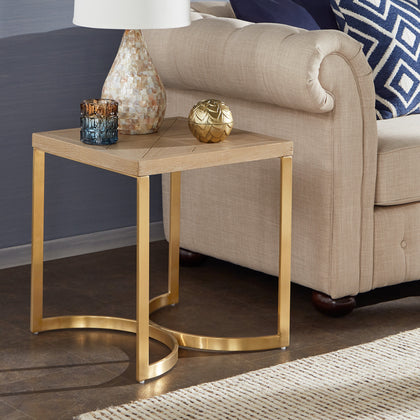 Natural Finish and Gold Table - End Table