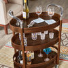 Wood Oval Bar Cart - Walnut Finish