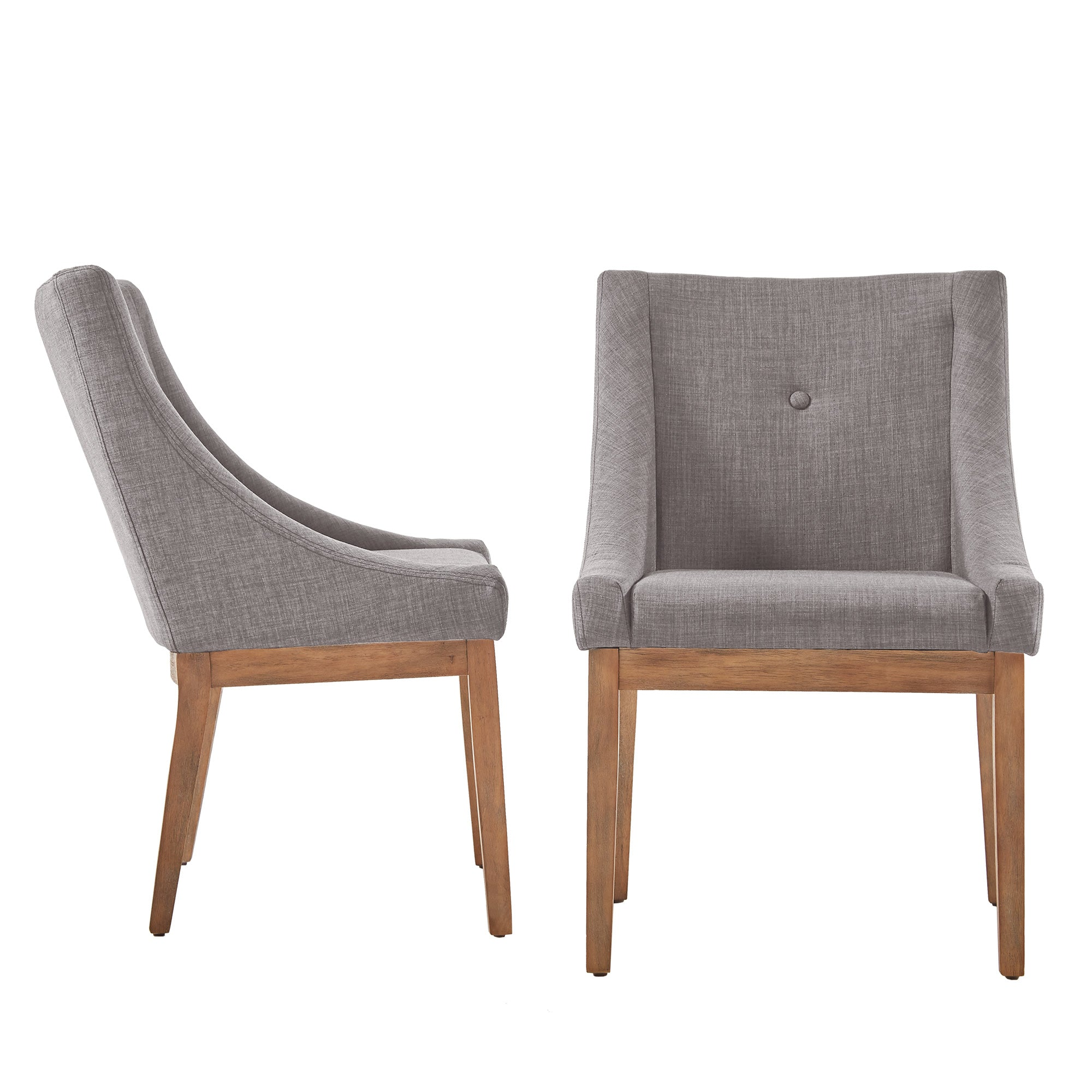 Button Tufted Slope Arm Linen Dining Chair (Set of 2) - Grey