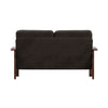 Mission-Style Wood Loveseat - Dark Brown Fabric, Dark Oak Finish