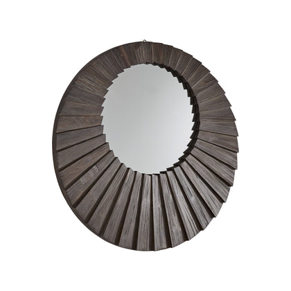 Dark Brown Reclaimed Wood Round Seashell Wall Mirror - Medium