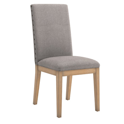 Nailhead Accent Parson Linen Dining Chair (Set of 2) - Grey