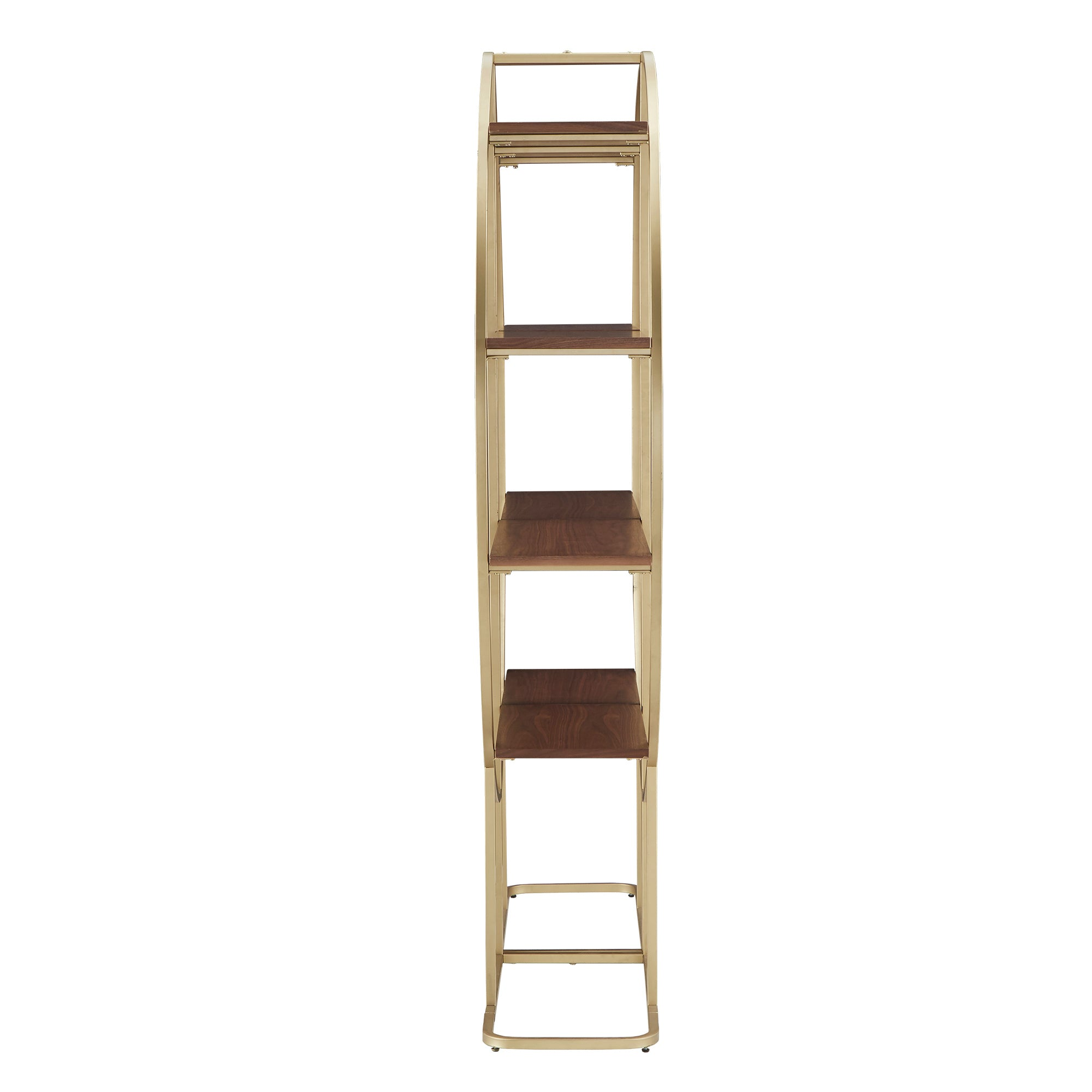Natural Finish Gold Metal Half Moon Bookcase - Two Bookcases