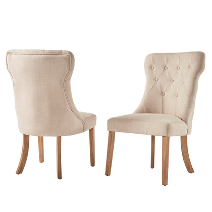 Button Tufted Dining Chair (Set of 2) - Beige Color Finish