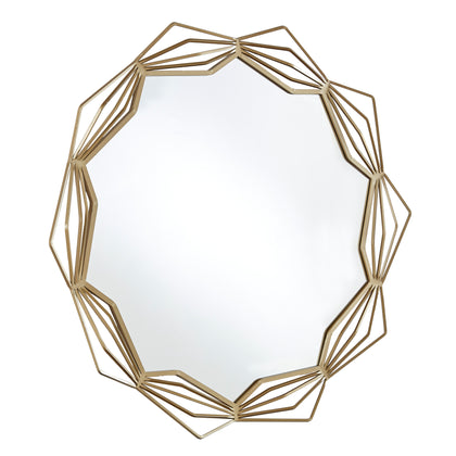 Star Geometric Metal Wall Mirror - Gold Finish